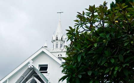 kona: Exterior details of Painted Church of St Benedict, of Big Island. Hawaii Stock Photo