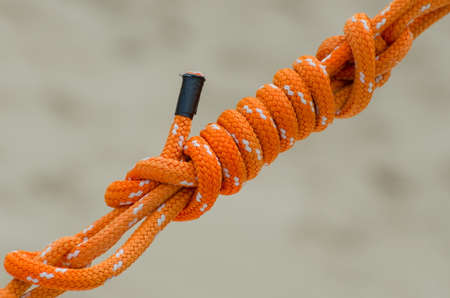 Orange rope as part of outrigger equipment at Mauna Kea beach, Big Island, Hawaii