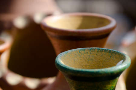 Colorful details and ornaments  of traditional Mexican ceramic crafts, found in Old town in San Diego Stock Photo
