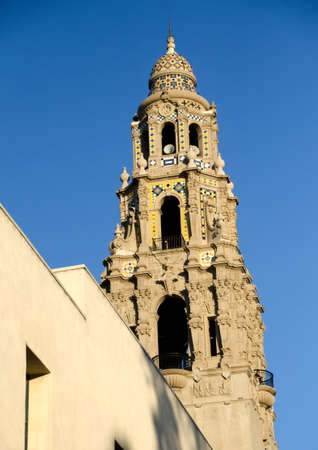 California bell tower and dome at the entrance of Balboa park.