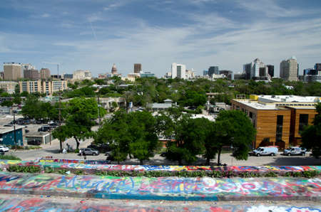 Looking at Austin downtown skyline  from Hope outdoor gallery, Austin, Texas