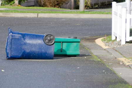Green and blue bin bibs lying on the driveway in Seattle neighborhood after windstorm