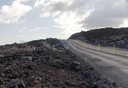 Road to  newly born Pohoiki  beach, Big Island, Hawaii