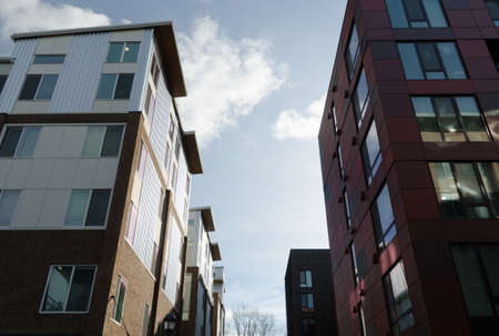 Sun highlights on new apartment buildings in Redmond Town Center