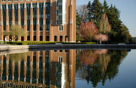 Reflections in Drumheller fountain, UW campus, Seattle
