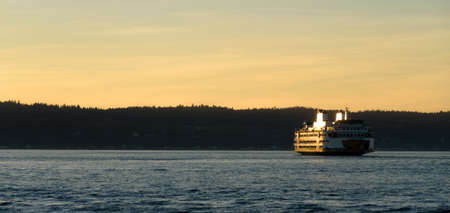 Whidbey  ferry departing from Mukilteo at sunset, Washington