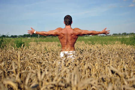 bodybuilder with arms wide open with sunglasses standing waist-deep in the field photo