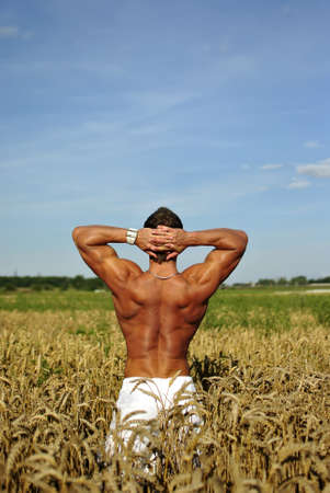 bodybuilder with sunglasses standing waist-deep in the field. space for text photo