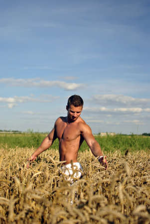 suntanned: bodybuilder with sunglasses standing waist-deep in the field. space for text Stock Photo