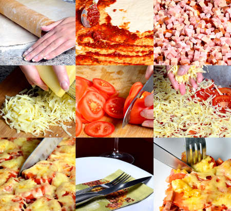 preparing: PIzza making, collage of six images