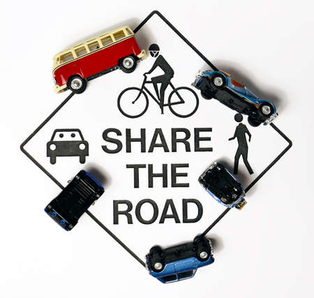 Share the road, concept sign photo
