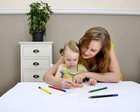 Mother and child painting Stock Photo - 11235181