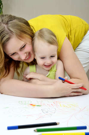Mother and child painting Stock Photo - 11235195