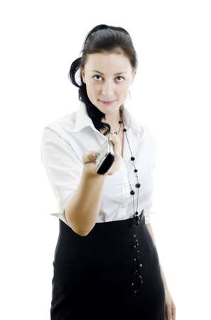 Woman holding remote control isolated on white background Stock Photo - 11756186