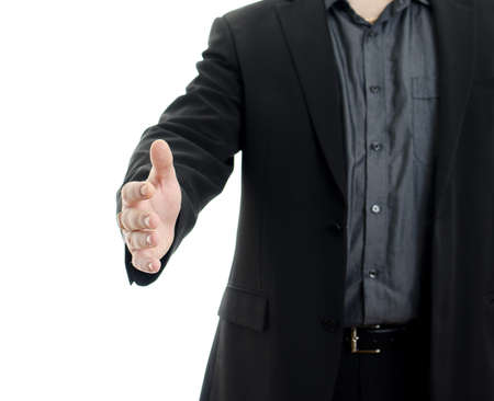 Body of businessman shaking hand, isolated on white background with copy space. photo