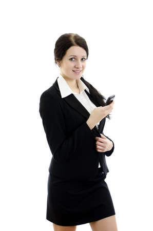 executive assistants: Portrait of a young attractive business woman with mobile phone. Isolated on white.