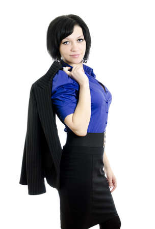 Portrait of a business woman. Over white background. photo