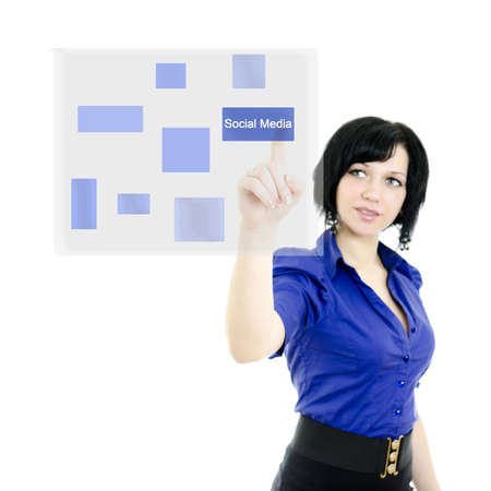 touch button: Attractive executive woman pushing on a touch screen interface. Isolated on white.
