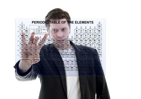 mendeleev: Male with Pereodic Table of Elements on touch screen interface. Isolated on white.