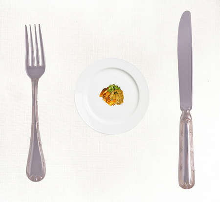 Diet concept: Stop Eating! Big fork and knife and small portion of the meal photo