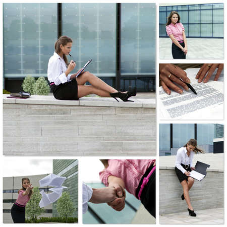 Business woman collage  Made of six photos Stock Photo - 12465929