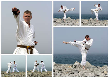 Karate fight collage. Made of six photos. photo
