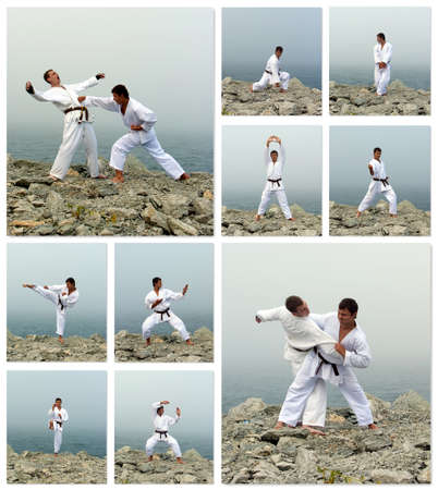 Karate fight collage  Made of ten photos  photo