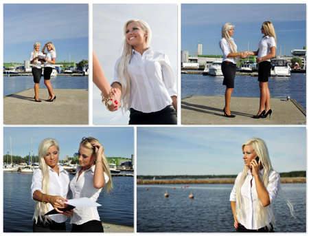 Business meeting collage. Made of five photos. photo