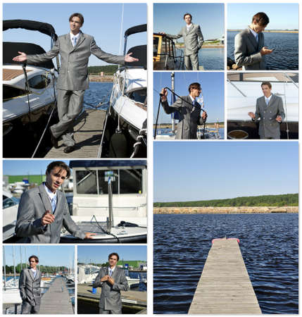 Yacht dealer collage. Made of nine photos. photo