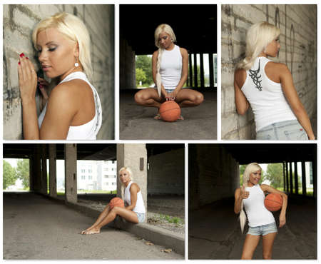 Basketball girl collage. Made of five photos. photo