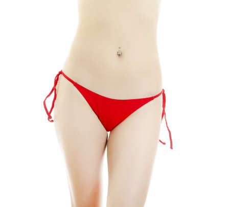 Woman body in red panties. Isolated on white. photo