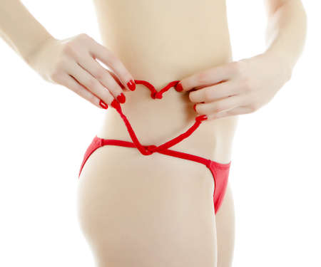red panties: Woman body in red panties. Isolated on white. Stock Photo