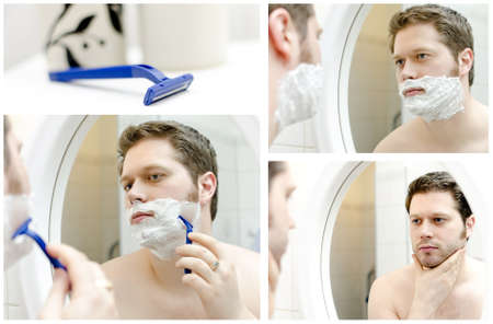 Collage of Man shaving  four photos  photo