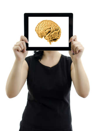 Woman holding tablet pc  Brain concept  Isolated on white  photo