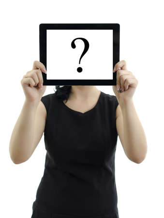 questions answers: Woman holding tablet pc with question mark  Isolated on white