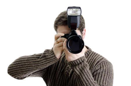 Photojournalist holding camera with flash. Isolated on white. Stock Photo - 12879192