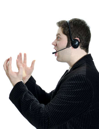 commentator: Sports commentator or Customer support with headphones in shock. Isolated on white.