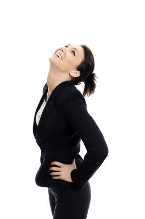 Attractive brunette girl laughing. isolated on white. Stock Photo - 12879494