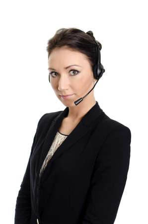 Female customer support operator with headset. Isolated on white. photo