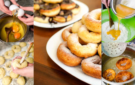 Donuts making collage. Six photos. photo