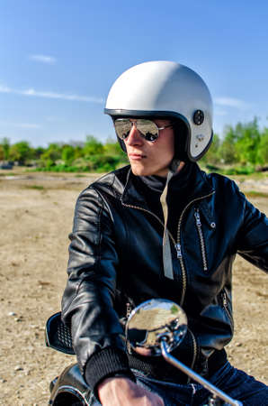 Motorcycle cop in a helmet and goggles Stock Photo - 13758851