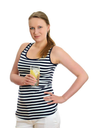 Attractive woman with glass of water, isolated on white photo