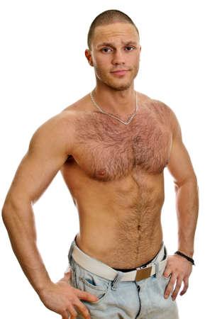 hombre desnudo: Atractivo hombre sin camisa en los pantalones vaqueros, aislados en blanco