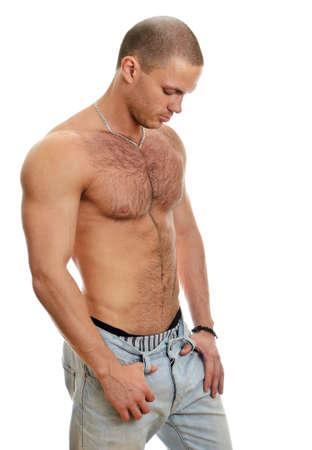 uomo nudo: Maschio attraente senza camicia in jeans, isolato su bianco Archivio Fotografico