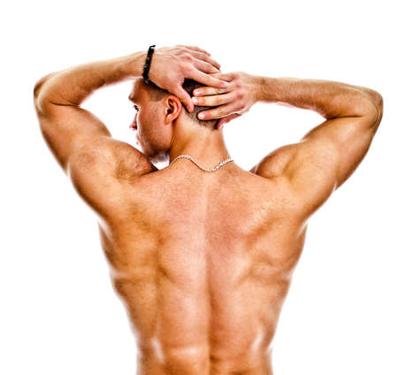 The muscular bodybuilder back. Isolated on white. Stock Photo - 14265311