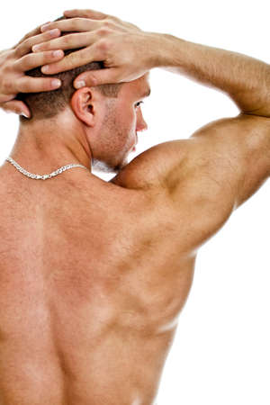 Half of the muscular bodybuilder back. Isolated on white. Stock Photo - 14265331