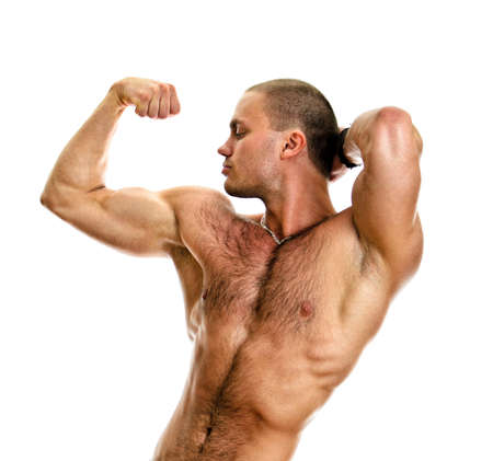 Muscular bodybuilder torso. Isolated on white background. Stock Photo - 14265308