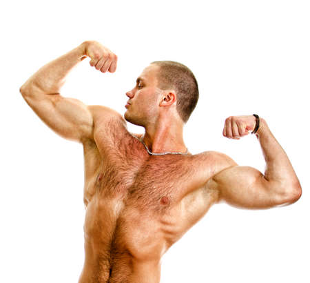 Muscular bodybuilder torso. Isolated on white background. Stock Photo - 14265307