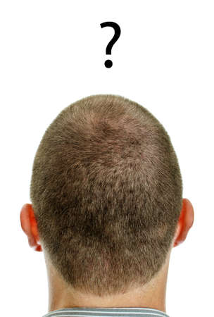 unanswered: Closeup of mans head with question. Isolated on white.