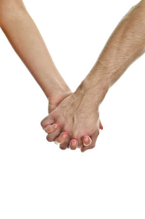 realtionship: Mans hand holding womans hand. Isolated on white.